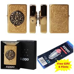 [Zippo] The Gate GD Windproof Lighter Made in USA GENUINE + 6 Flints for free
