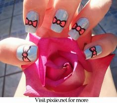 bow nails pinned from nail.pixiie.net #nailart #nailpixiie