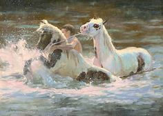 Capturing the Fantasy - Winter 2008 Issue of Horses in Art Magazine; Rough Water -  oil on canvas Melissa Brown