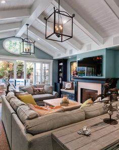 - Cape Cod Inspired - family room - sectional plus loveseat. Like the wall color too with the beadboard ceiling