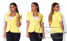 Пиджак женский на пуговицах с коротким рукавом большой размер желтый