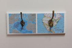 maps on hook board from Sew Paint It