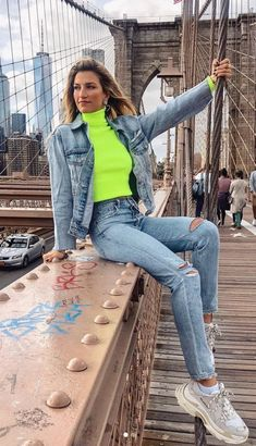 Neon Sweater - Neon Turtleneck - Neon Yellow Sweater - Neon Yellow Turtle Neck - Denim On Denim - Ca Neon Outfits, Casual Outfits, Fashion Outfits, Sneakers Fashion, Jackets Fashion, Fashion Clothes, Outfit Zusammenstellen, Denim Outfit, Yellow Sweater Outfit