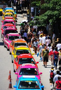 Fantastic riot of colours of the cabs of Hong Kong. You can't help but smile. Photographer is Ferraby from Tasmania.
