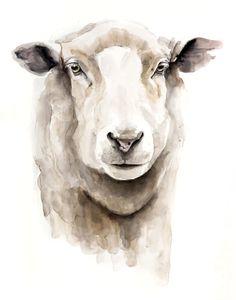 Sheep Paintings, Animal Paintings, Animal Drawings, Horse Drawings, Watercolor Animals, Watercolor Print, Watercolour Painting, Custom Dog Portraits, Pet Portraits