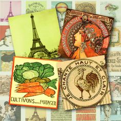 all things french | All Things French Pendant Squares Digital Collage Sheet 1 inch square ...