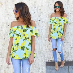 2017 Brand New Women Off Shoulder Chiffon T-Shirt Ladies Summer Casual Tops Lemon Printed Casual Top Shirt #Affiliate