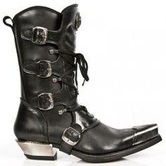 Santiags NEW ROCK noires en cuir M.7993p-c1 Boutique Chaussures Mode