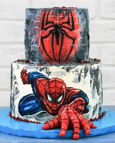 Spiderman Decorations For Cakes. Cake decorating is a great way to get in touch with your creative side and you. Just Cakes, Cakes For Boys, Cake Kids, Spiderman Torte, Spiderman Birthday Cake, Spiderman Cookies, Spiderman Cake Topper, Spiderman Spiderman, Batman