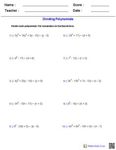 Dividing Polynomials with Long Division Worksheets | Math-Aids.Com ...