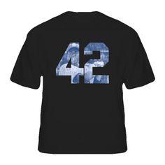 Jackie Robinson Movie 42 Black Distressed Look T Shirt