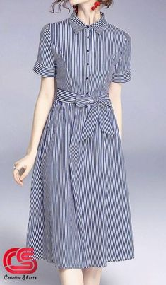 Connie is a classy blue and white striped mid length dress. This dress has a professional style build with folded half sleeves, collared neckline and button up detail. It comes with a matching belt and is available in Modest Dresses, Modest Outfits, Modest Fashion, Dress Outfits, Casual Dresses, Fashion Dresses, Mid Length Dresses, Short Sleeve Dresses, Suits For Women
