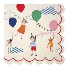 Süße Servietten mit einem Kindermotiv im Zirkus Look als perfekte Dekoration für einen Kindergeburtstag. Die Meri Meri - Servietten klein Toot Sweet Zirkus bekommt ihr bei www.party-princess.de