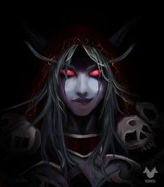 World of Warcraft Art Board ^^ // Blizzard // wow // // Digital World Of Warcraft Characters, Fantasy Characters, Fantasy Portraits, Fantasy Artwork, Wow Elf, Lady Sylvanas, Banshee Queen, Illidan Stormrage, Sylvanas Windrunner