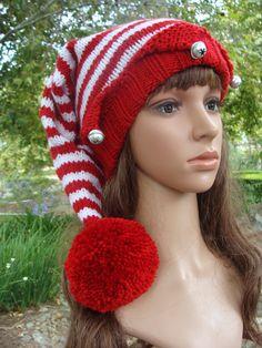 DIY- Knitting PATTERN  168  Santa s Elf Knit Hat with Pom-pom Pattern fbdb9f1515a6