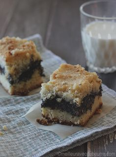 Dessert classique allemand constitué d'une base de biscuit recouverte d'une crème pâtissière au pavot. Le tout surmonté d'une garniture croustillante. Biscuits, Muffins, Veggies, Sweets, Chocolate, Cooking, Breakfast, Healthy, Pie