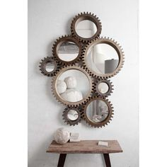 Trendy Industrial Rustic Design . Cog Mirrors by Mercana Example Display
