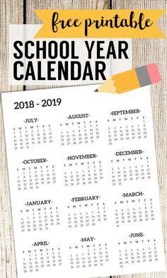 20182019 School Calendar Printable Free Template is part of School Organization Calendar - 20182019 School Calendar Printable Free Template School year academic calendar free printable for organizer or planner Year at a glance page Academic Calendar, School Calendar, Kids Calendar, Calendar Design, Teacher Calendar, Classroom Calendar, Academic Planner, School Planner, 2019 Calendar