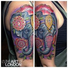 Could this elephant pop any more? Great work. #InkedMagazine #elephant #floral #flowers #tattoo #tattoos #Inked #ink