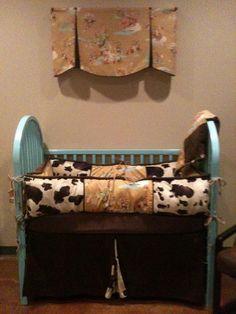Items similar to Vintage Cowboy Western Baby Bedding with cow print on Etsy Western Baby Bedding, Western Nursery, Western Babies, Little Babies, Baby Kids, Baby Baby, Dream Baby, Baby Love, Baby Bedroom Furniture