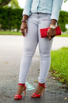 denim shirt and grey denim with red heels miami fashion blogger 5 Red Details :: #HowISummer Link Up