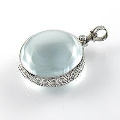 Zilveren Medaillon - Glas Rond