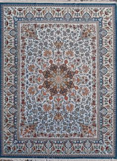 Sky Blue Isfahan masterpiece 95% Silk Silk Persian Rug - Item# HF-3015   Size: 290 x 390 (cm)      9' 6 x 12' 9 (ft)