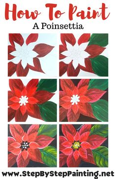 How To Paint A Poinsettia - Step By Step Painting With Tracie Kiernan Canvas Painting Tutorials, Acrylic Painting Lessons, Easy Canvas Painting, Diy Canvas Art, Easy Paintings, Painting Patterns, Diy Painting, Italy Painting, Rosalie