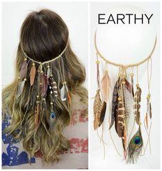Boho Boutique Earthy Feather Headband Bahçe – home accessories Boho Hippie, Hippie Style, Estilo Hippie, Boho Gypsy, Hippie Jewelry, Gypsy Hair, Beach Hippie, Modern Hippie, Geek Jewelry