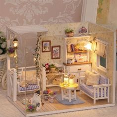 Wooden DIY Doll House with Furniture and LED Lights