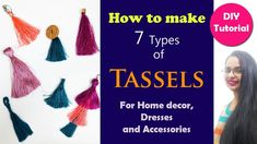 How to make 7 types of Tassels How To Make Tassels, How To Make Diy, Making Tassels, Diy Tassel, Find Us On Facebook, Graduation Decorations, Shirt Refashion, Cotton Thread, Craft Work