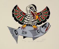 Eagle and Salmon [Remarque] by Richard Hunt, Kwakwaka'wakw (Kwagiulth) artist Tribal Wolf Tattoo, Wolf Tattoos, Native Canadian, Native American Art, Richard Hunt, First Nations, Art Techniques, Folk Art, Salmon