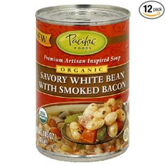 Pacific Natural Foods Organic Savory White Bean with Smoked Bacon Soup, 14.5-Ounce Cans (Pack of 12)