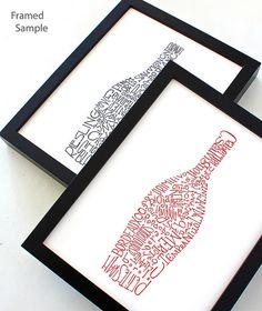 Wine Bottle illustration, Kitchen Artwork, typographic print, art print, kitchen wall decor poster set of 2 @Jessica Mongeon