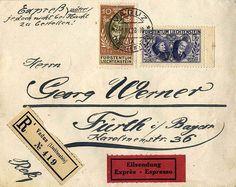 Liechtenstein Zeppelin treaty mail-1928, government anniversary d. Sovereigns 10 Rp. and 1. 20 Fr. correctly franked on registered special delivery letter from Vaduz to Fürth, Michel 400.-    Dealer  Rauss und Fuchs Auktionshaus    Auction  Minimum Bid:  80.00EUR