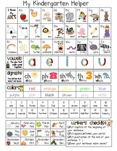 $2 - 2-page resource guide for Kindergartners - copy back to back and laminate.