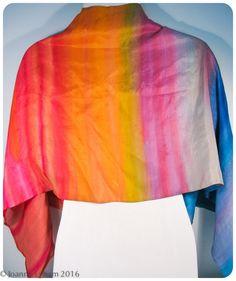 "Rainbow Silk Wrap. Hand-painted silk shawl. OOAK. 20""x56"" (0.5m x 1.4m) Mulberry Silk scarf. Handpainted silk scarves. Rainbow scarf. by SirenSilks on Etsy"