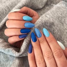 Deep Blue Nail Art Design for Winter Season winter nails winter Gradient Nails, Purple Nails, Gel Nails, Nail Polish, Coffin Nails, Galaxy Nails, Gradient Nail Design, Bright Summer Acrylic Nails, Best Acrylic Nails