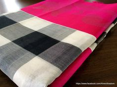 Black and White checks Handwoven Kollam Saree with Broad Pink Border with Silver Lotus