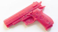 pink gun, lavender soap with lavender flowers