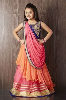 Show details for Multicolored color designer saree style gown