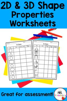 These 2D and 3D Shape Properties NO PREP printable worksheets are perfect for practicing, reviewing and assessing the attributes of shapes. Students record the number of sides and corners for 2D shapes and faces, edges and vertices for 3D objects - ideal for student assessment. Use these worksheets in your classroom or homeschool to compliment your geometry math lessons. Suitable for Kindergarten and first grade {1st grade} Kindergarten Math Worksheets, Phonics Activities, In Kindergarten, Shapes Worksheets, Printable Worksheets, 3d Shape Properties, 2d And 3d Shapes, Primary Resources, Math Lessons