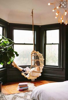Bay Window Ideas - Browse photos of living room bay window. Discover ideas as well as inspiration for living room bay window to add to your own house. Black Painted Walls, Black Walls, Black Rooms, Bedroom Black, Gothic Bedroom, Vintage Interior Design, Home Interior Design, Room Interior, Interior Office