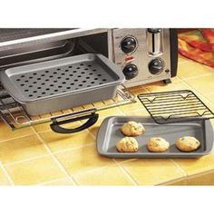 Toaster Oven Pans (non-stick steel): Broiling & Baking Pan $12, Pie ...