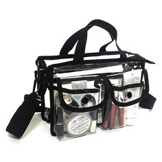 AmazonSmile | Clear pvc pouch with removable and adjustable shoulder strap (Black) | Travel Totes