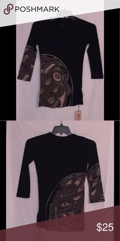 """XCVI Black Graphic T -NWT- Size Small XCVI Black Graphic T -NWT- Size Small - 3/4 sleeve - 100% Supima Cotton- Made is USA Approximate Measurements (Lying Flat) a Underarm to Underarm:14"""" - Length from neck to hem center of back 25 1/2"""" XVCI Tops Blouses"""