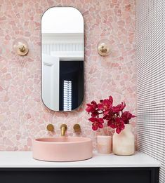 habitaciones de hotel ood Co would like to thank bellemagazineau for the feature of our Bowl Sink in blush pink. Congrats to lbinteriors for this incredible Deco Rose, Pink Tiles, Laundry In Bathroom, Bathroom Marble, Bathroom Goals, Bathroom Cabinets, Master Bathroom, Blush Bathroom, Bathroom Interior Design