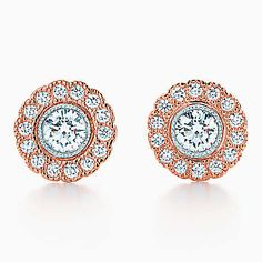 Tiffany Enchant™ flower earrings in platinum and 18k rose gold with diamonds.