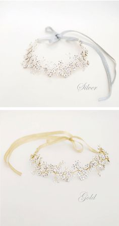 Bridal crystal hair vine rose gold headband bride flower by Elibre