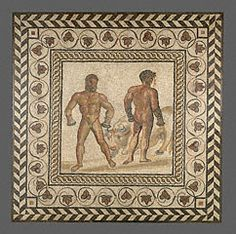 "Circa 175 AD Gallo-Roman (Villelaure, France) stone and glass mosaic floor with center panel of two boxers; 81 7/8"" h x 81 7/8"" w; Getty 71.AH.106"